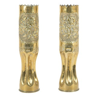Trench / Folk Art Vases Made From French WWI Artillery Shell Casings - a Pair For Sale