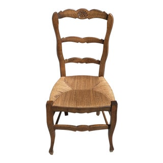 1910s Vintage French Country Rush Seat Solid Walnut Dining Chair For Sale