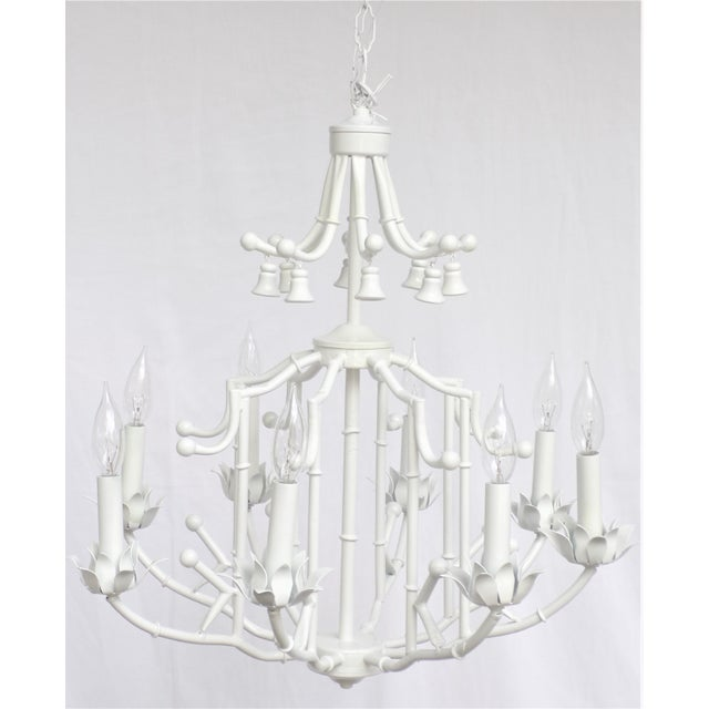 Large Palm Beach Regency Pagoda Faux Bamboo White Chandelier - 8 Arms For Sale - Image 12 of 12