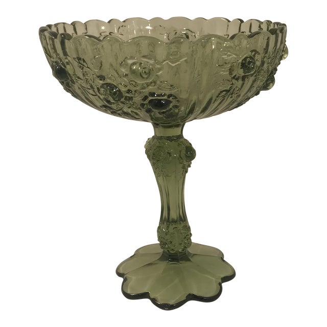 Fenton Cabbage Rose Colonial Green Glass Footed Candy Dish Compote For Sale