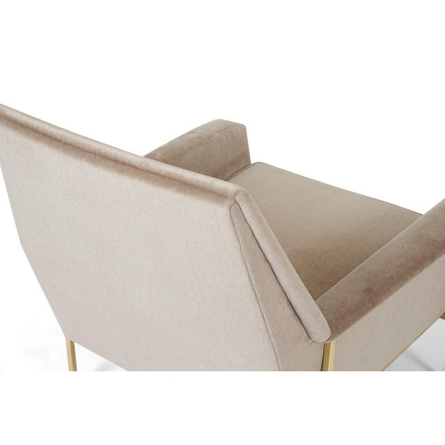 1950s Velvet Upholstered Brass Frame Lounge Chair Attributed to Harvey Probber For Sale - Image 5 of 7