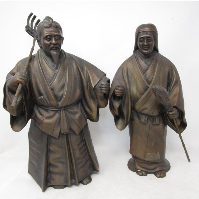 Japanese Farmer and Wife Bronze Figures - a Pair For Sale - Image 13 of 13