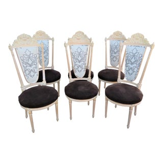 Louis XVI Shell Carved Maple Dining Chairs-Set of 6 For Sale