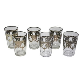 Clear and Silver Overlay Shot Glasses - Set of 6 For Sale
