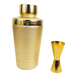 Matte Gold Vintage Cocktail Shaker Set For Sale