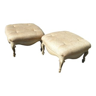 Vintage French Country Provincial Off White Ottomans W Cabriolet Legs - a Pair