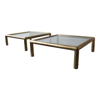 Pair of Tubular Brass Coffee Tables by Mastercraft For Sale