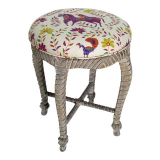 1990s Vintage Upholstered Carved Stool For Sale