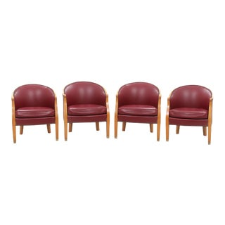 Century Red Leather Barrel Chairs - Set of 4