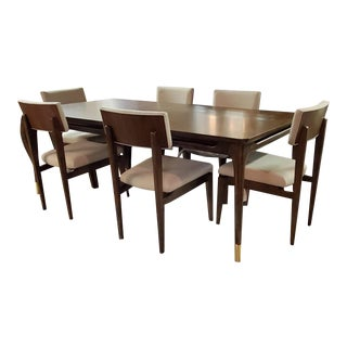 Thomasville Furniture Ellen Degeneres Walnut Dining Table & Chair Set For Sale