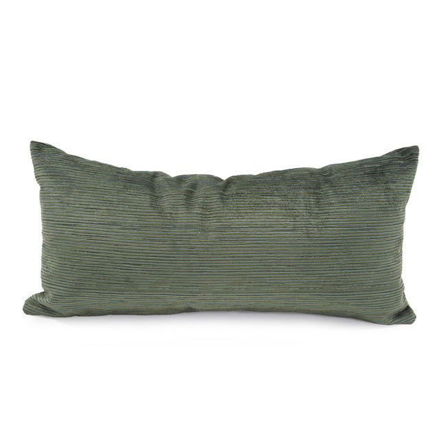 Kenneth Ludwig Chicago Green Striped Textured Bolster Pillow For Sale In Chicago - Image 6 of 6