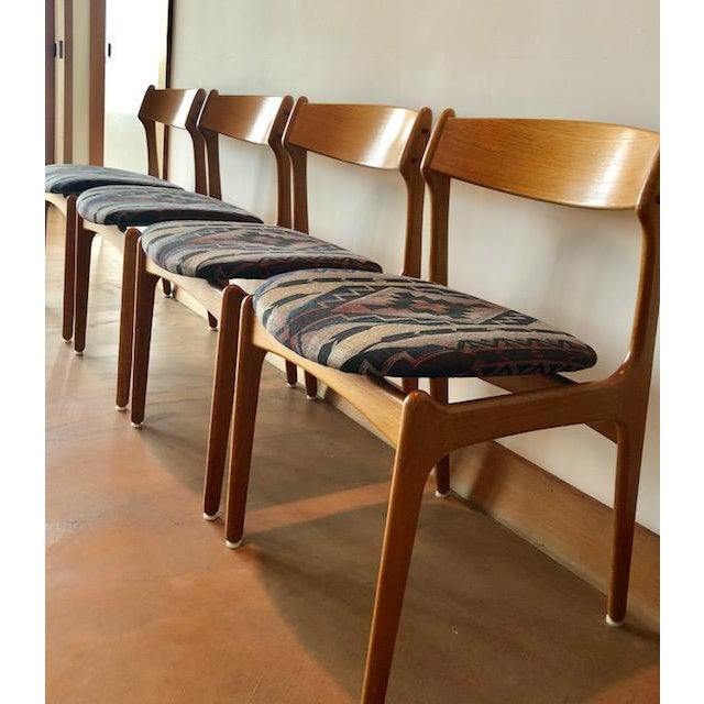 Danish Modern Mid-Century Upholstered Teak Chairs - Set of 4 For Sale - Image 3 of 8
