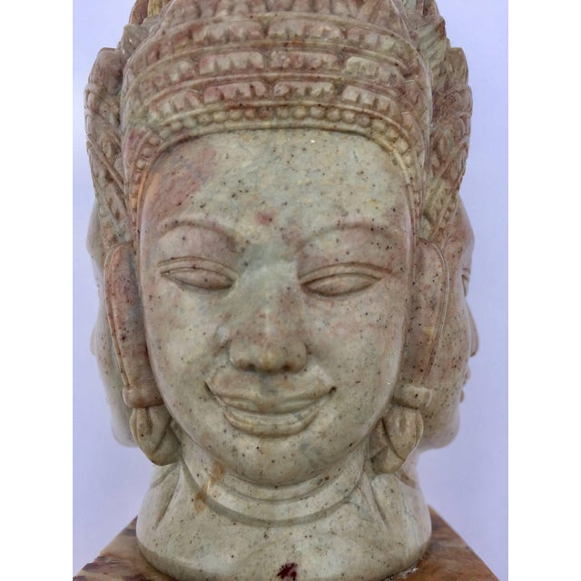 Soapstone Hand-Carved Bust of Brahma With Four Faces For Sale - Image 9 of 13