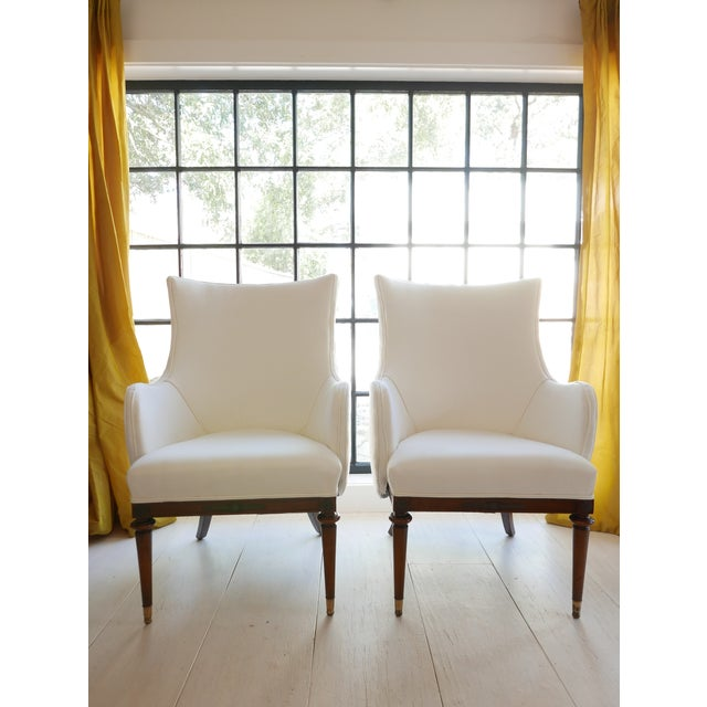 Vintage Mid-Century White Armchairs- A Pair For Sale - Image 11 of 11