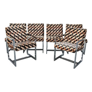 1970s Chrome Dining Chairs in Larsen Fabric- Set of 6 For Sale
