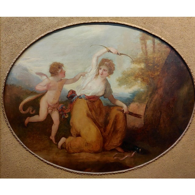 Neoclassical 18th Century Neoclassical Oil Painting, Cupid & A Goddess For Sale - Image 3 of 9