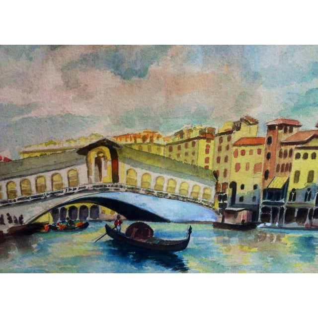 Italian Venice Canal W/ Gondola Watercolor Painting, 1930s For Sale - Image 3 of 4