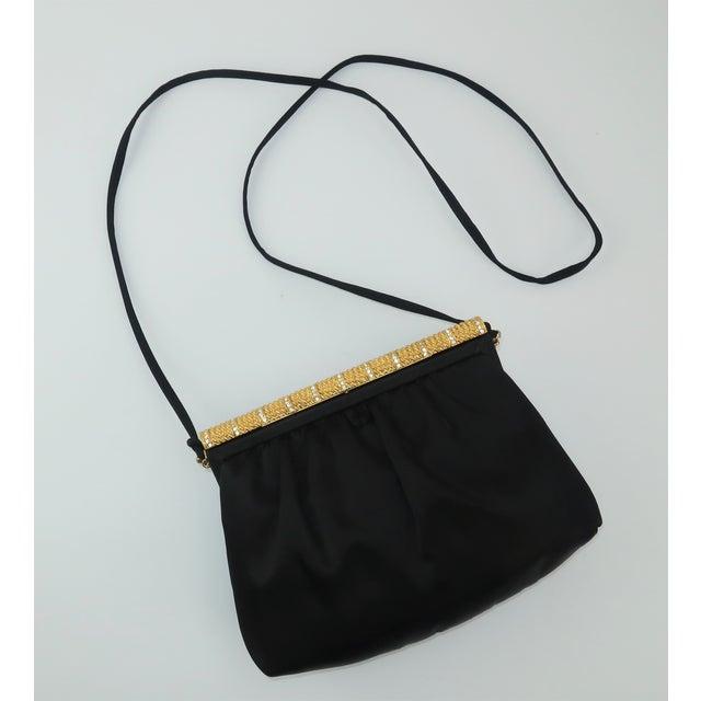 C.1980 Givenchy Black Satin Evening Handbag With Rhinestone Closure For Sale - Image 13 of 13