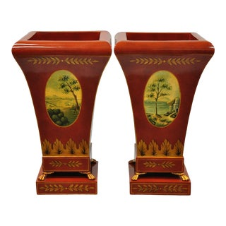 Red Tole Metal Hand Painted Planter by Maitland Smith-a Pair For Sale