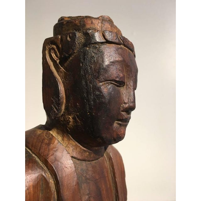 Chinese Ming Dynasty Carved Wooden Bodhisattva For Sale - Image 9 of 10