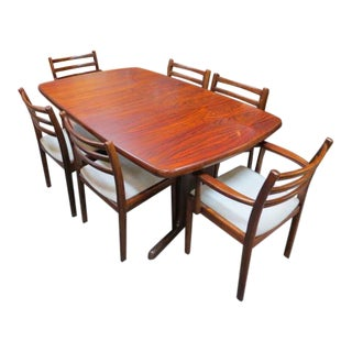 Vintage Danish Modern Rosewood Dining Set - 7 Pieces For Sale