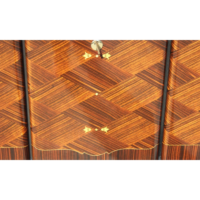 Metal 1940s Art Deco Exotic Macassar Ebony Mother-Of-Pearl Sideboard For Sale - Image 7 of 13