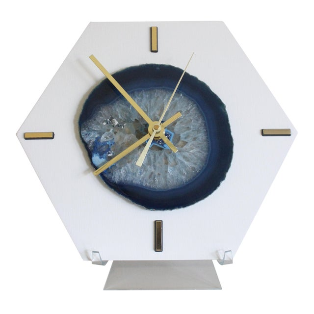 Modern Navy Blue SoLo Agate Large Desk Clock - Image 1 of 7