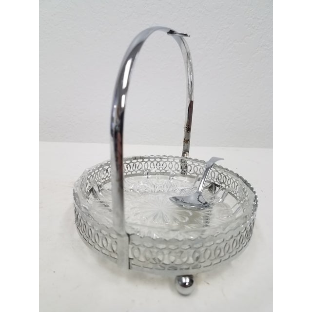 English Antique English Silver Plate & Glass Serving Condiment Dish With Spoon For Sale - Image 3 of 10