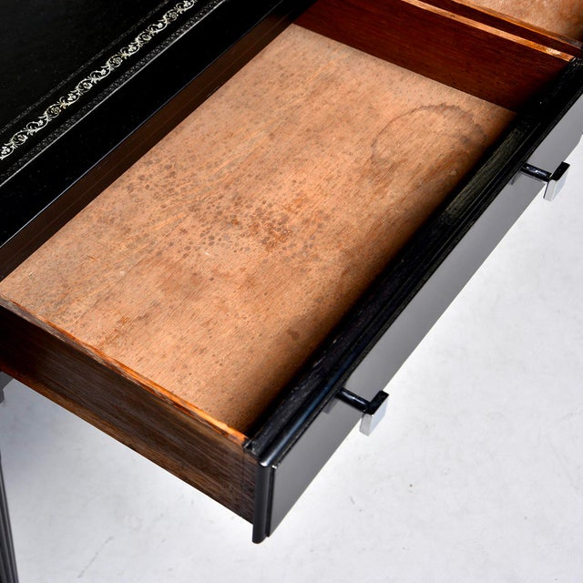 Early 20th Century Ebonized Mahogany Leather Top Desk For Sale - Image 4 of 12