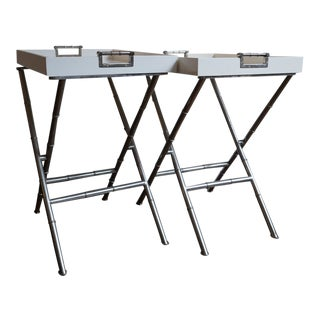 Jonathan Adler Meurice White Butler Tray Tables by Robert Abbey - a Pair For Sale