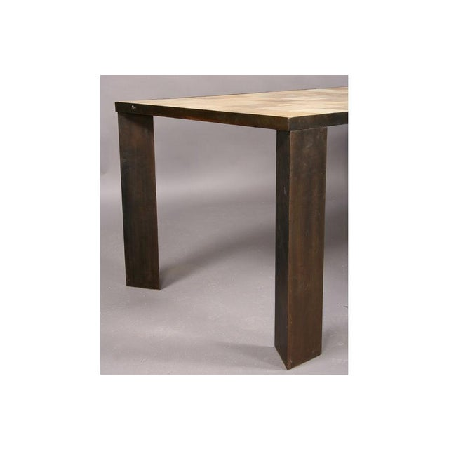 Modern Patchwork Parchment Dining Table For Sale - Image 3 of 4