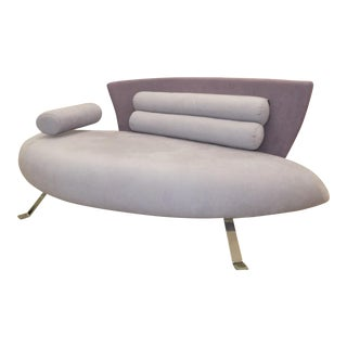 Giorgio Saporiti Il Loft Suede Club Loveseat For Sale