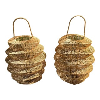 Palacek Style Rattan Hurricane Lanterns - A Pair For Sale