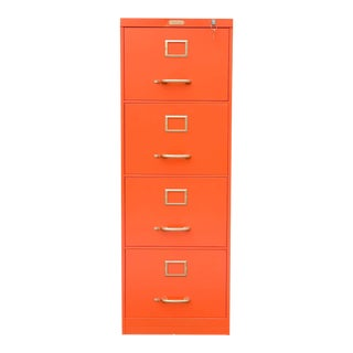 1970s Mid-Century Modern Orange Filing Cabinet For Sale