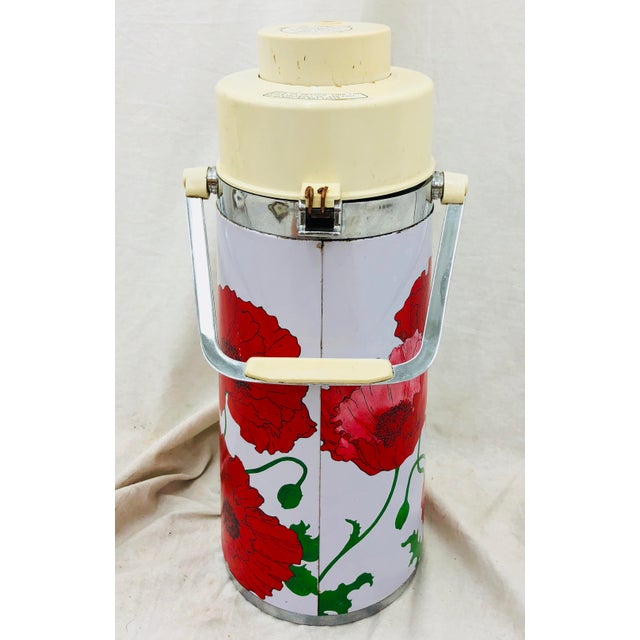Vintage Red & White Floral Thermos Carafe For Sale - Image 4 of 12