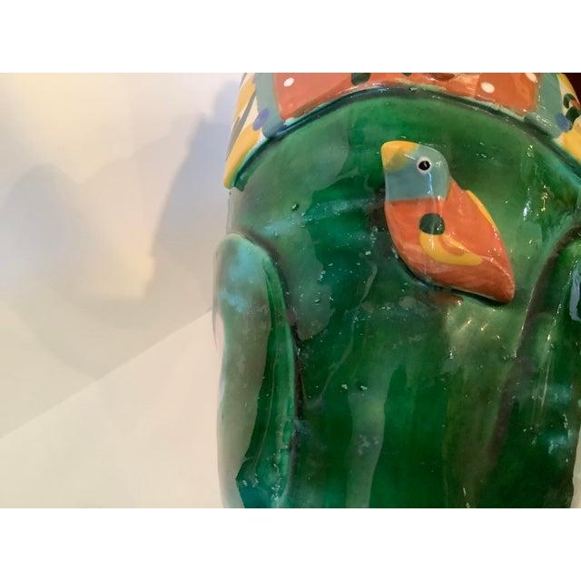 Ceramic 1980s Vintage Whimsical Glazed Ceramic Elephant Sculpture For Sale - Image 7 of 12