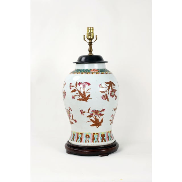 19th Century Famille Rose Temple Jar Lamp With Wooden Jar Cover For Sale In New York - Image 6 of 6