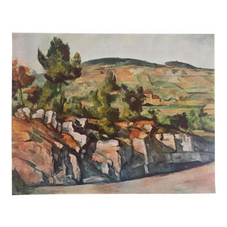 "Paul Cezanne Rare Vintage 1952 Authentic Lithograph Print "" Mountains in Provence "" 1886 For Sale"