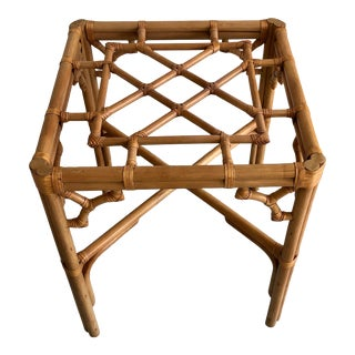 Boho Chic Rattan and Glass Bamboo Fretwork Chippendale Style Dining Table For Sale