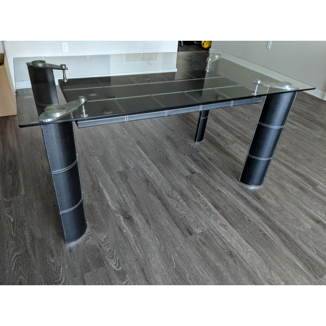 Canvas Modern Glass Top Dining Table For Sale - Image 7 of 7