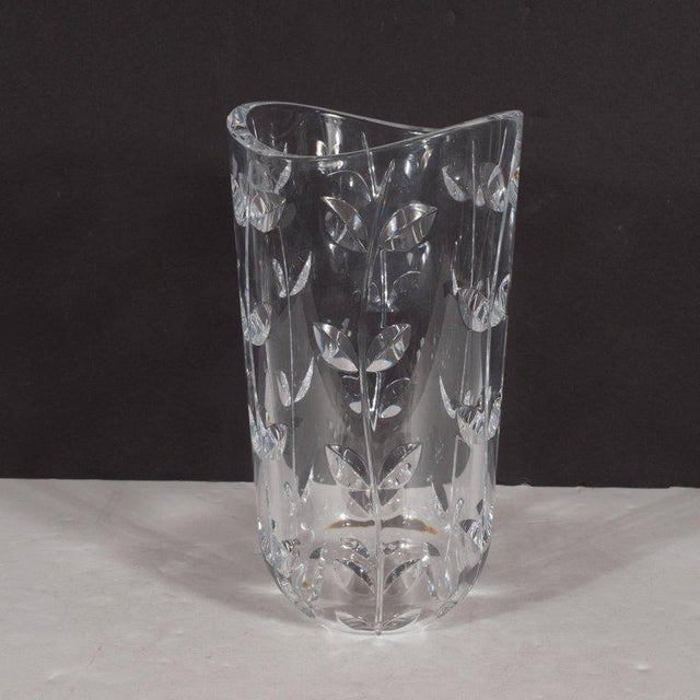 World Class Large Modernist Crystal Vase With Incised Foliate