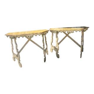 20th Century Italian Demilune Tables - a Pair For Sale