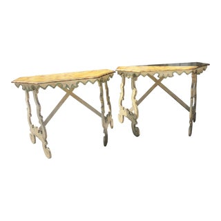 Italian Demilune Tables - a Pair For Sale