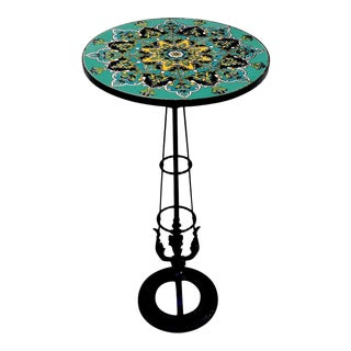 French Art Deco Turquoise Tile and Wrought Iron Pedestal Table For Sale