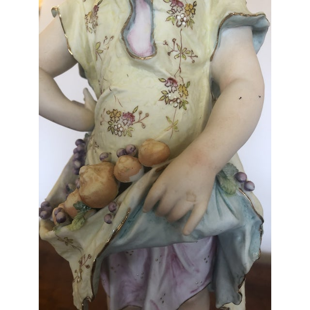 Large Antique Hand Painted Parian Porcelain Figure of a Girl For Sale In Philadelphia - Image 6 of 13