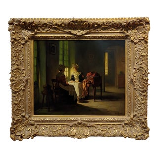 Joseph Bail -19th Century Interior With Women Sewing by Window Light -Oil Painting For Sale