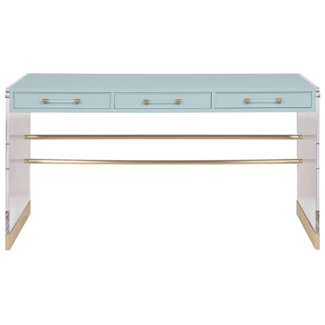 Transitional Casa Cosima Arden Desk with Taper Leg Base, Palladian Blue For Sale - Image 3 of 3