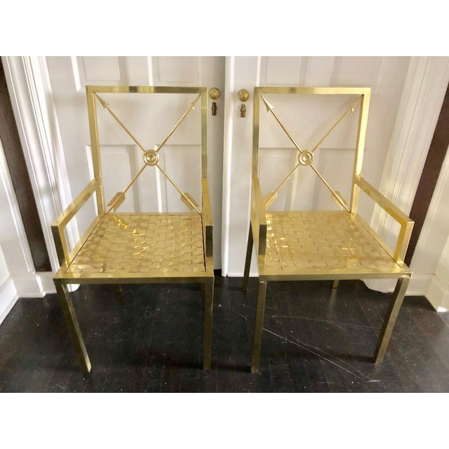 Gold Glimmering Show Stealer Heavy Brass Neoclassical Armchairs by Mastercraft For Sale - Image 8 of 12