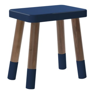 Tippy Toe Kids Chair in Walnut and Deep Blue Finish For Sale