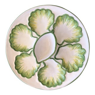 Mid 20th Century Hand Painted Majolica Seashell Oyster Plate With Raised Sauce Well For Sale